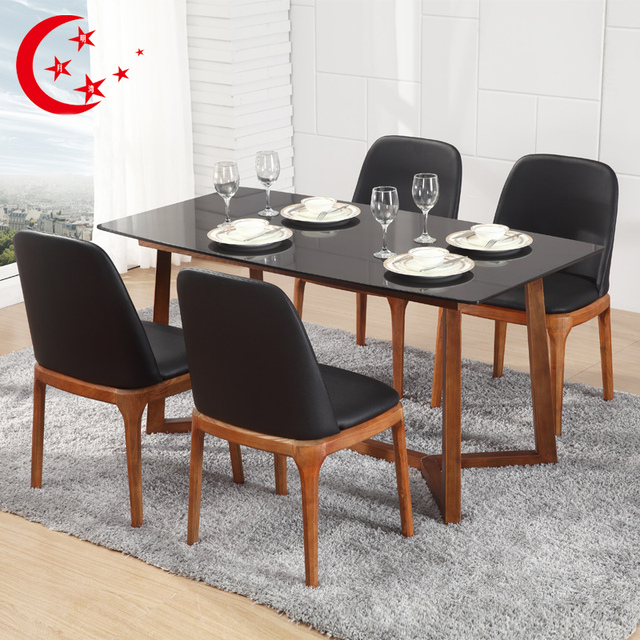 Solid Wood Dining Table Marble And Chairs Nordic Combination Ikea Rectangular