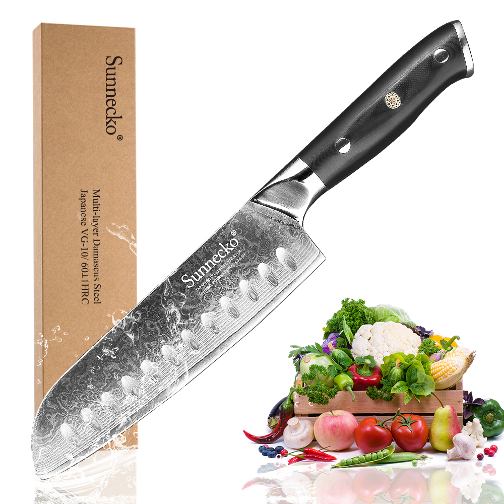 Hot SUNNECKO 7 inch Santoku Kitchen Knife Japanese VG10 Steel Blade Razor Sharp Damascus Cut Chef