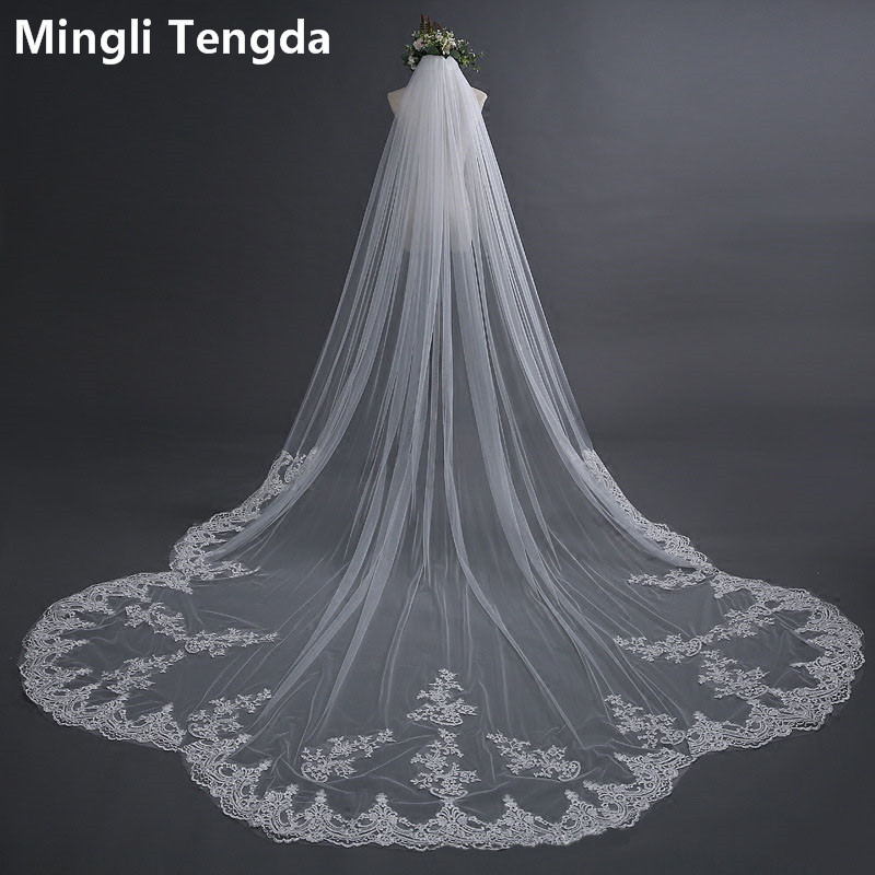 Mingli Tengda One Layers Ivory Wedding Veil Long Lace Edge Bridal Veils with Comb Elegant Cathedral