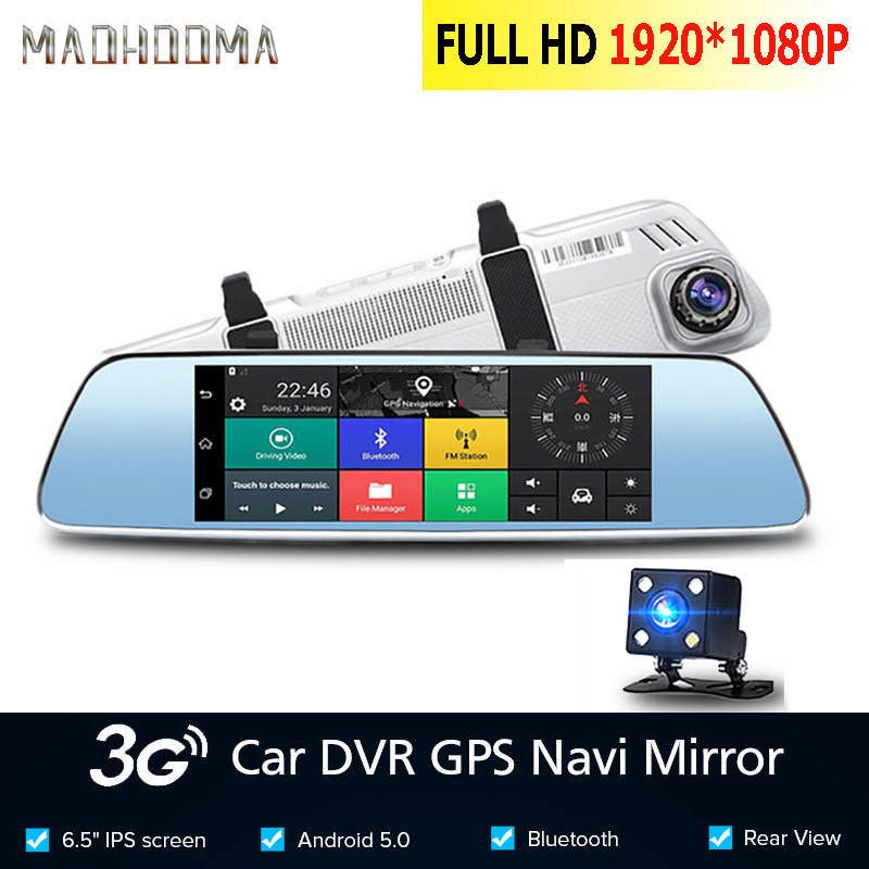 MaoHooMao7 inch 3G Car Dvr Camera GPS Navigator Android Rearview Mirror Full HD 1080P Video Recorder Bluetooth Dual Lens Dashcam image