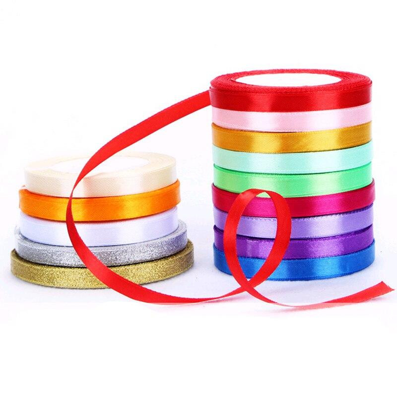 22 м/roll красочные шелковые атласные ленты Свадебная вечеринка украшения подарок ремесло Вышивание ткань тканевая лента DIY 6 мм 15 25 40