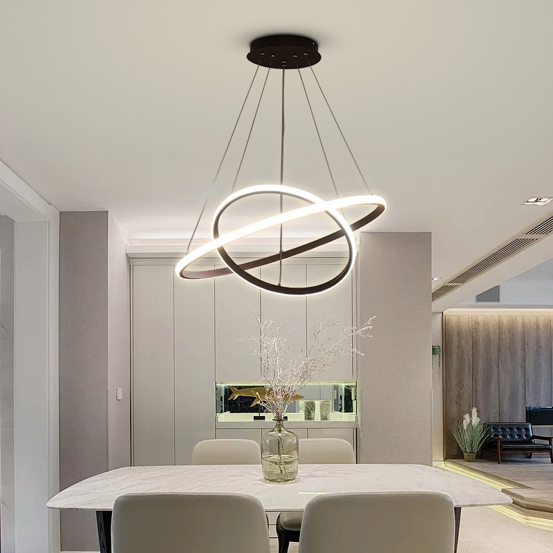 Coffee Black White Color Modern pendant lights for living room dining room 3/2 Circle Rings LED Lighting ceiling Lamp fixtures