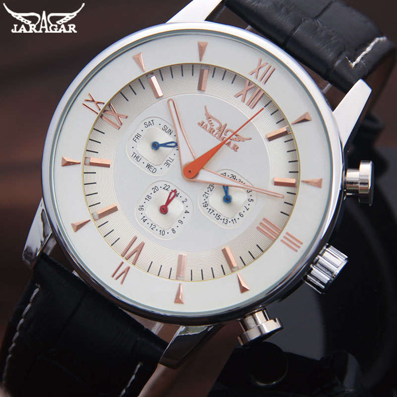 JARAGAR Men Mechanical Watches Brand Casual Men'S Automatic 6 Hands Genuine Leather Strap Watches Black Auto Date Wristwatches