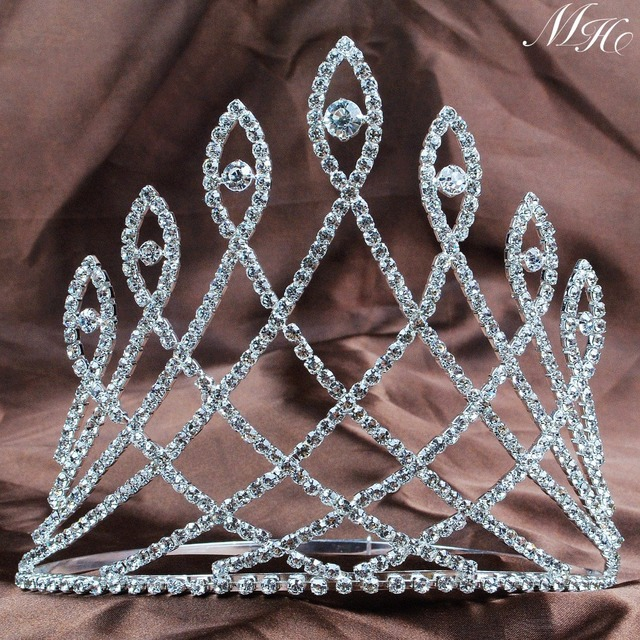 "6"" Large Crowns Tiaras Crystal Princess Miss Beauty Full Crown Diadem Wedding Bridal Pageant Prom Party Hair Jewelry Accessories"