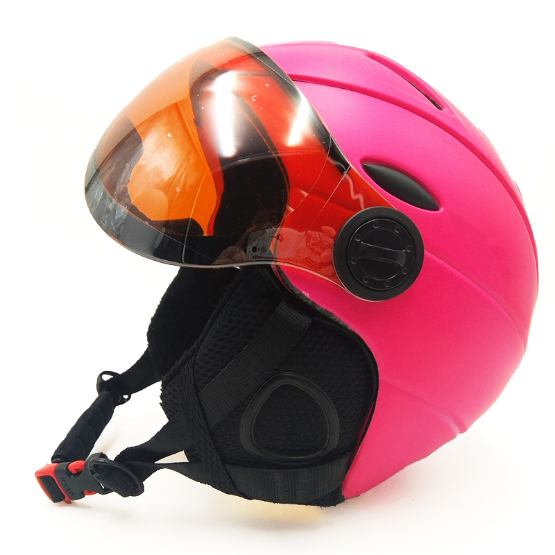 PINK Skiing Helmet with goggles Integrally-molded PC+EPS Ski Helmet Outdoor Ski Snowboard Skateboard Helmet S-XL 4 colors aidy 618 lightweight comfortable pc eps skiing helmet white