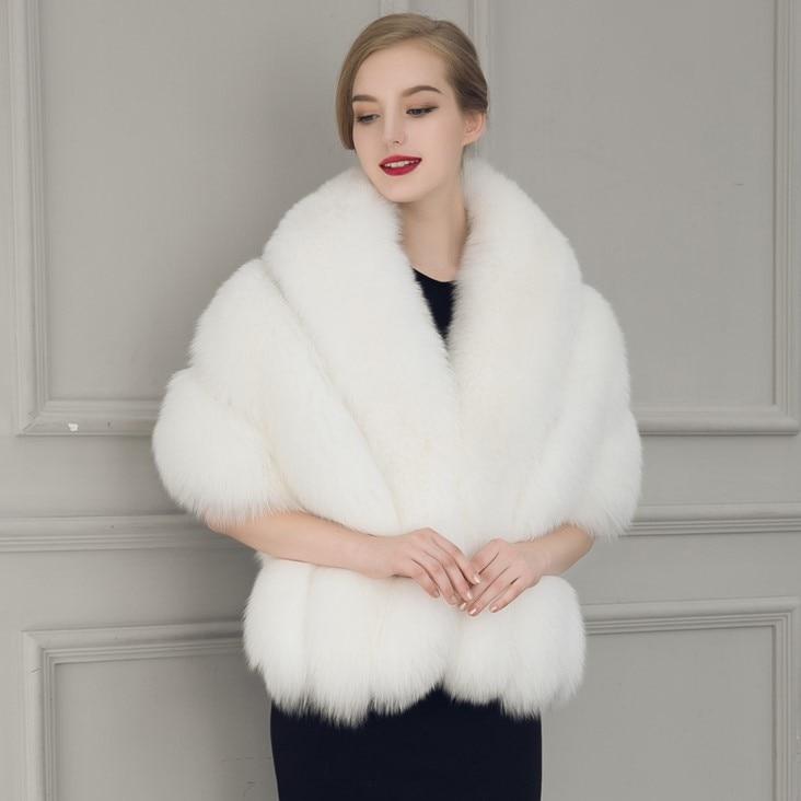 2017 New Black White Fur Bride Shawl Cape Coat Women Cloak -3352