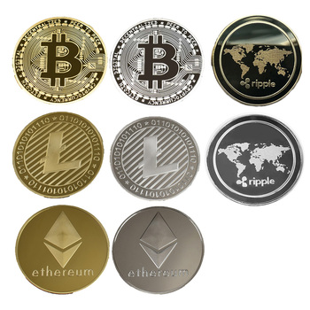 Gold & Silver Plated Bitcoin/Litecoin/Ripple/Ethereum