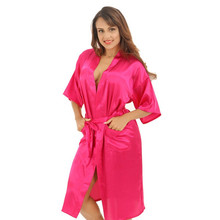 Hot Pink Female Sexy Silk Rayon Robe Chinese Women Sleepwear Kimono Bath Gown Nightgown Plus Size S M L XL XXL XXXL cheap Robes Half NIUNIUSHOW Polyester Knee-Length summer Satin Solid Spring Summer Autumn Shanghai China (Mainland) Chinese Vintage Style