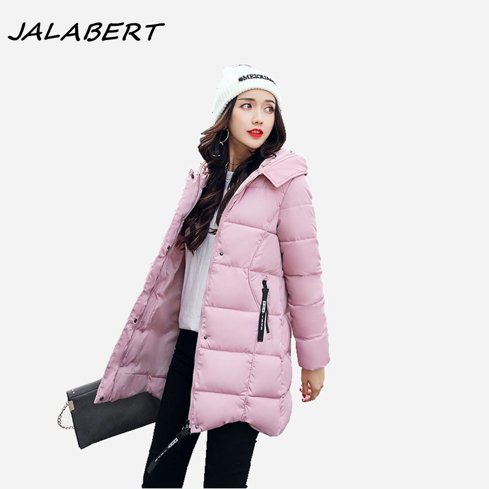 2017 new winter jacket for women solid hooded with hairball warm cotton parkas female irregular thicker zipper black coat padded 2017 new winter coat for women slim black solid hooded long warm cotton parkas female thicker zipper red jacket padded