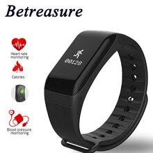 Betreasure F1 QUENTE Pulseira De Fitness Monitor de Freqüência Cardíaca Do Bluetooth Inteligente Banda Esportes Pulseira Inteligente À Prova D' Água de Pressão Arterial