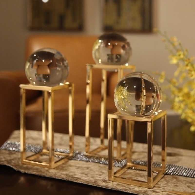Modern creative Metal crystal ball statue home decor crafts room decoration objects office study crystal ball figurines gifts