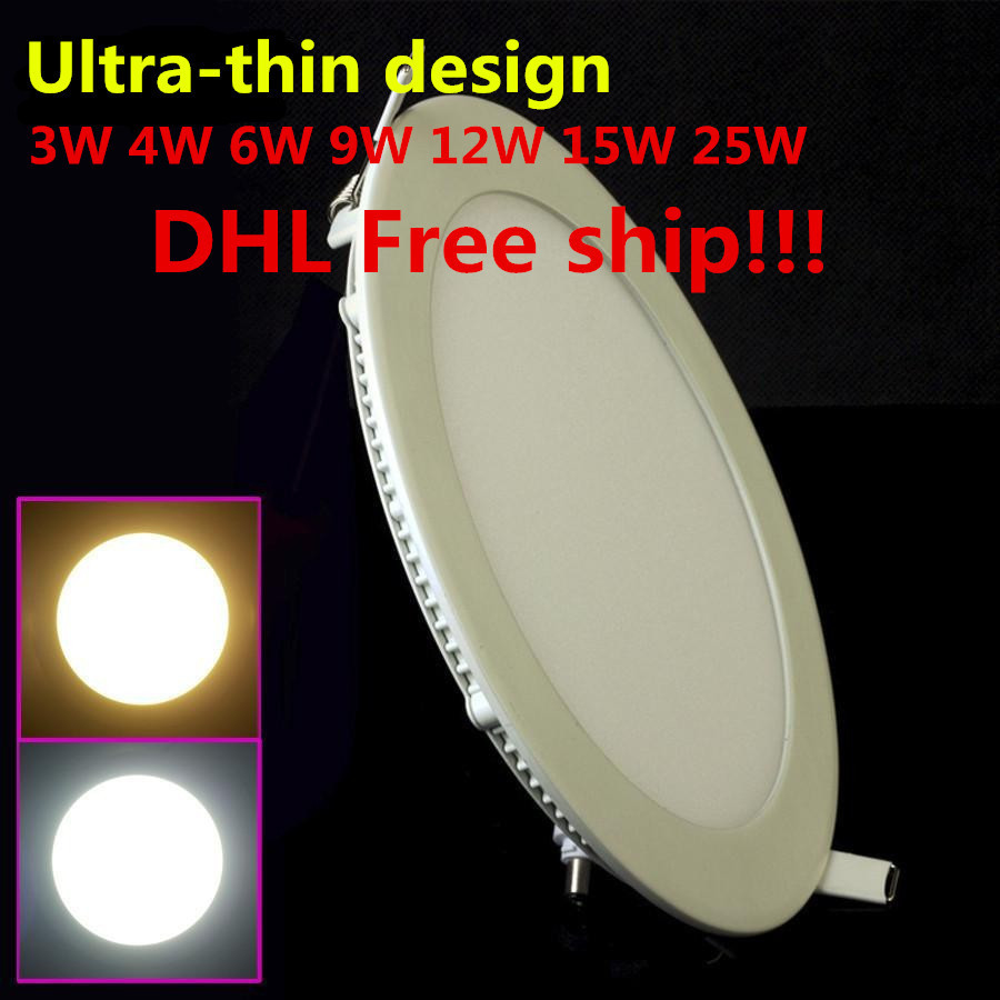 DHL Free Shipping 20pcs/lot LED Ceiling Light 3W 6W 9W 12W 15W 25W High brightness LED Down light with adapter AC85-265V