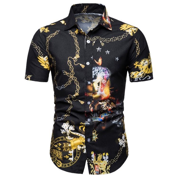 Hawaiian Shirt Mens Clothing Short sleeve Shirts Turn-down collar New arrival Blouse Men Summer