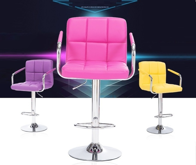 Bar Stool Computer Rotation Chair Pink Purple Pu Leather Linen Seat For Seletion Free Shipping