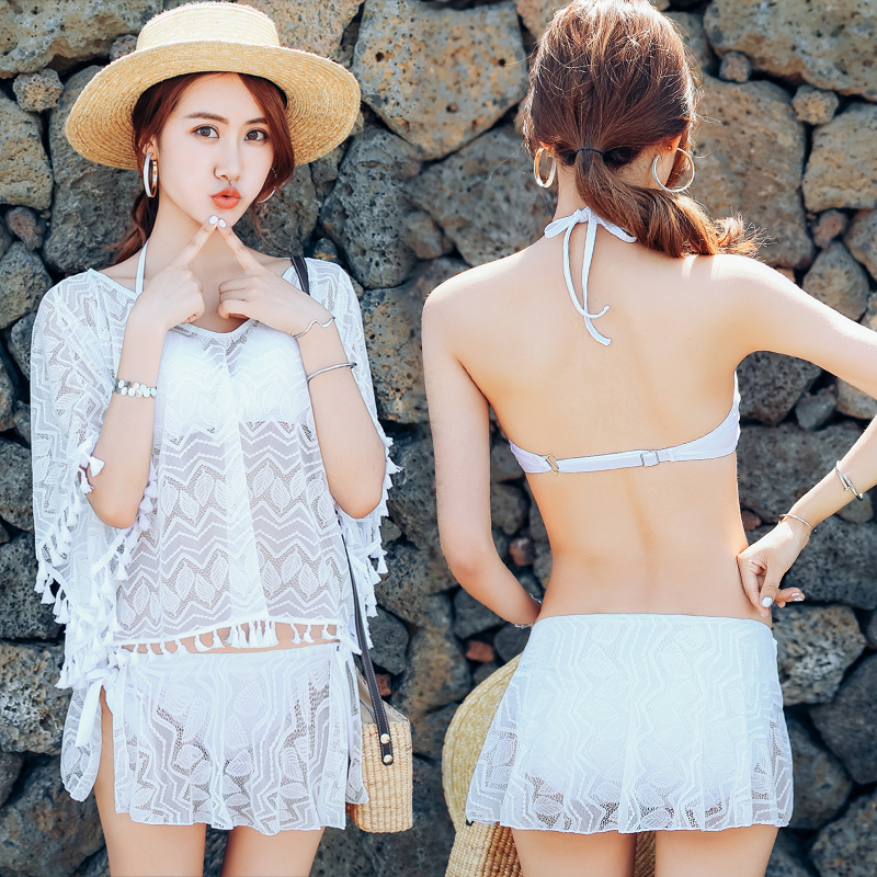 Sexy White lace cover-ups 2018 new women Push Up swimwear low waist three piece swimsuit holiday women bathing suits white lace up swimsuit