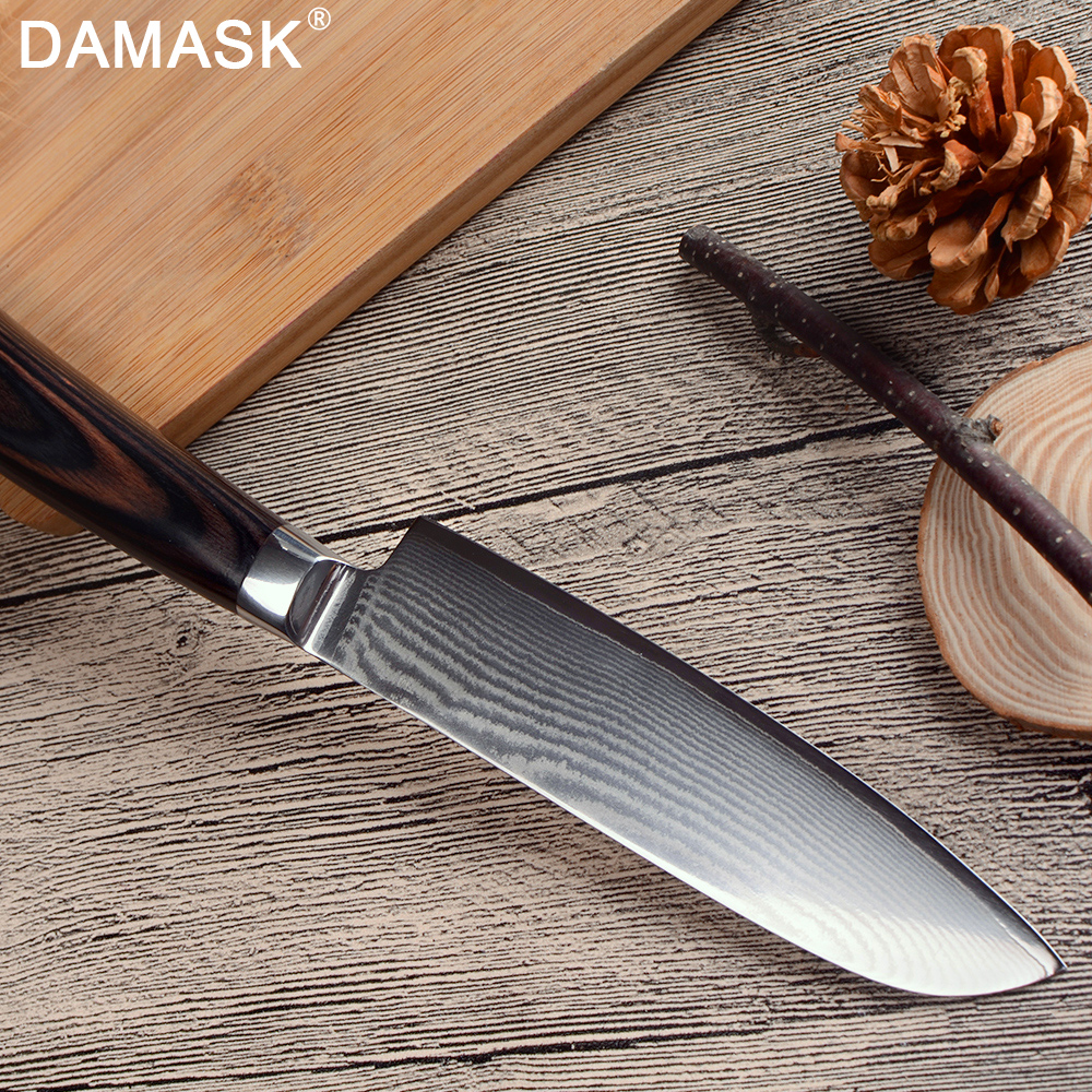 Damask Japanese Kitchen Knife Professional Japan VG10 Damascus Steel Chef Knife High Hardness Color Wood Handle Meat Cleaver in Kitchen Knives from Home Garden