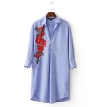 Women elegant Appliques striped long shirts full cotton three quarter sleeve loose blouse turn down collar casual blusas LT1180