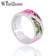 WindJune Boho Enamel Engagement Rings For Women 925 Sterling Silver Ring Wedding Party Fine Jewelry Anillos De Plata 925