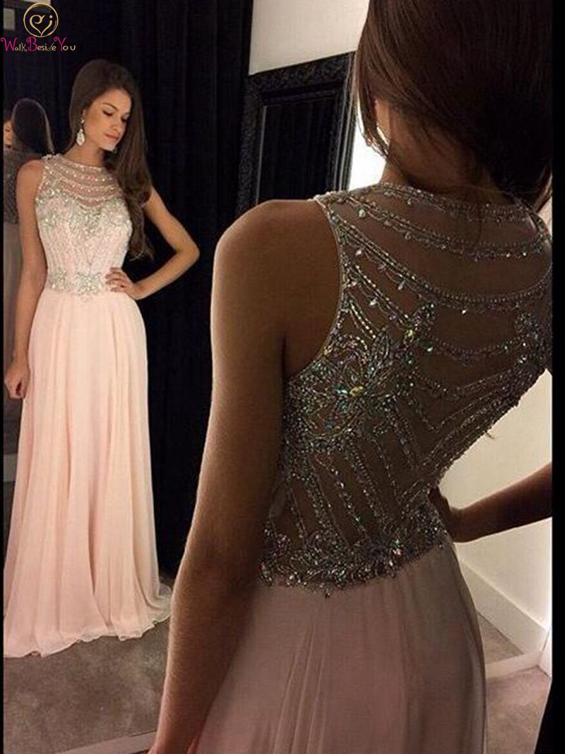 Black Pink Scoop Neck A Line Evening Dresses 2019 New Elegant Sleeveless Beading Crystal Chiffon Formal Party Long Prom Gowns in Evening Dresses from Weddings Events