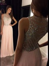 Black/Pink Scoop Neck A Line Evening Dresses 2019 New Elegant Sleeveless Beading Crystal Chiffon Formal Party Long Prom Gowns