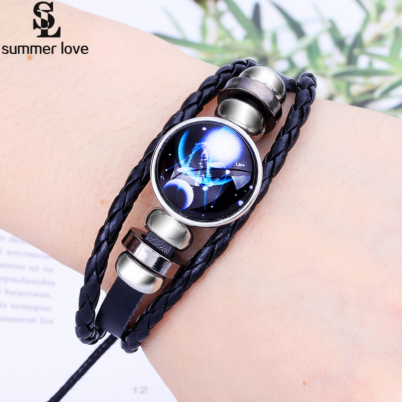 Unisex Constellations Bracelet Leather Bracelet Casual Personality 12 Zodiac Signs Punk Bracelet 2018 New Fashion Jewelry