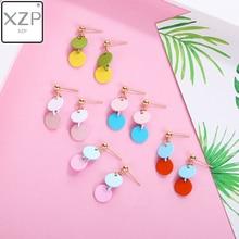 XZP Temperament Simple Geometric Oval Stitching Long Pendant Earrings Korean Fashion Women Girl Color Ear Drop Jewelry Accessory