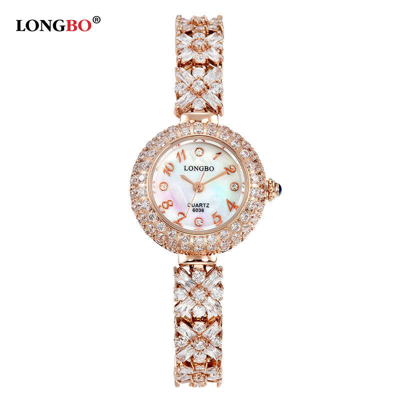 LONGBO Hot Women Rose Gold Bracelet Watches Digital Quartz watches With Crystals Elegant Female Dress Wrist Watches WaterproofLONGBO Hot Women Rose Gold Bracelet Watches Digital Quartz watches With Crystals Elegant Female Dress Wrist Watches Waterproof