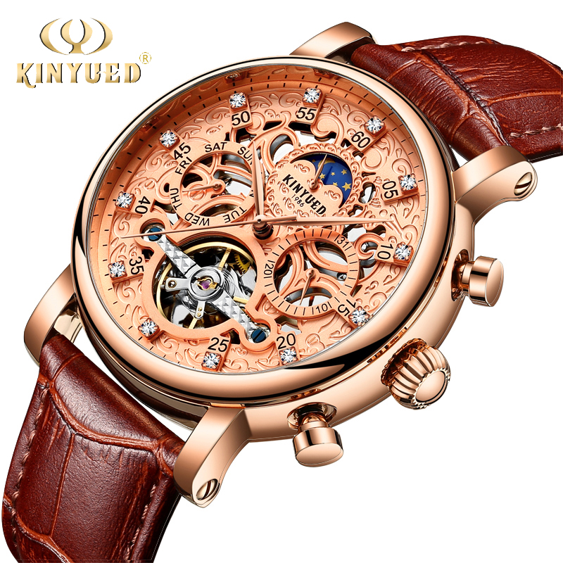 KINYUED Mens Watches Top Brand Luxury Automatic Self-wind Mechanical Watch Rose Gold Leather Tourbillon Skeleton Male Wristwatch kinyued brand men self wind waterproof stainless steel strap automatic mechanical male black dial fashion tourbillon watch
