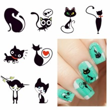 FWC New Fashion Lovely Sweet Water Transfer 3D Grey Cute Cat Nail Art Sticker Full Wraps Manicure Decal DIY