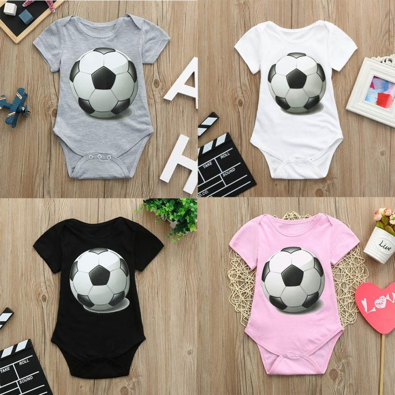 2018 Hot sale Toddler Baby Girls Boys Soccer Football Print Romper JumpsuitOutfits Short Sleeve O-Neck Cotton Body For Babies