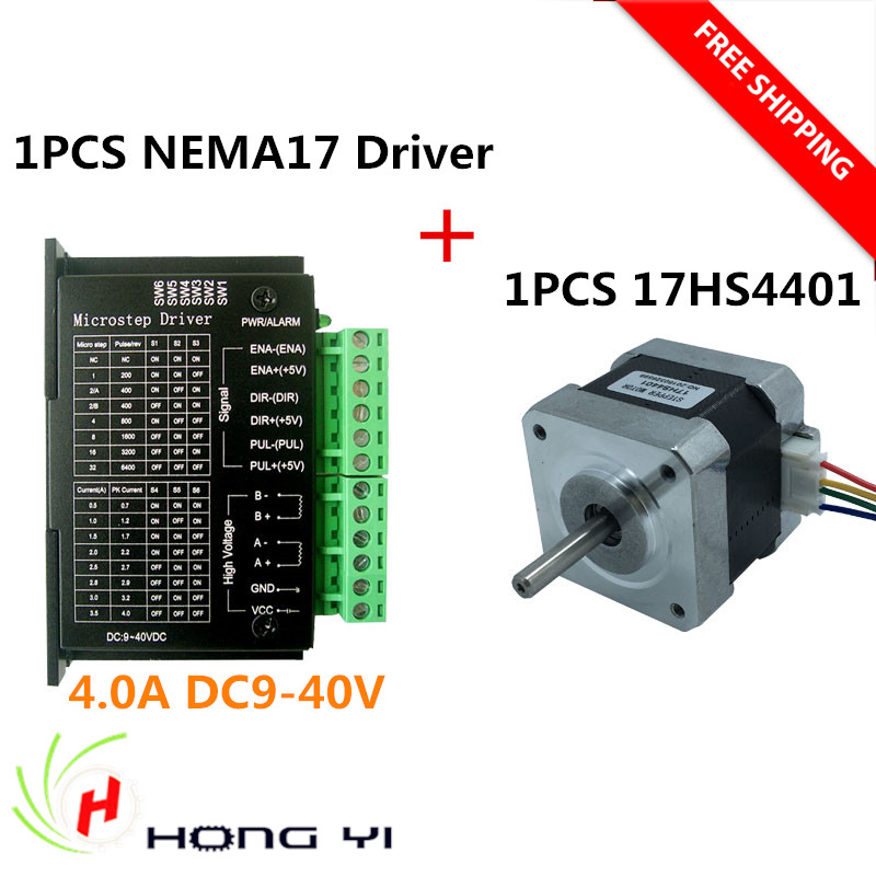 any Country 4-lead Nema17 Stepper Motor NEMA 17 motor 42BYGH 1.7A (17HS4401) use + 42 motor Diver for 3D printer and CNC цена