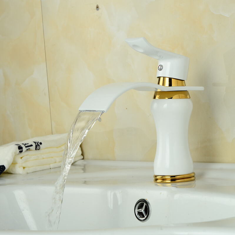 waterfall white crane bathroom white faucet mixer waterfall basin mixer tap white waterfall tap white tap sink mixer free shipping wine glass shape grilled white painted tall bathroom waterfall faucet fancy style white basin sink mixer tap w004