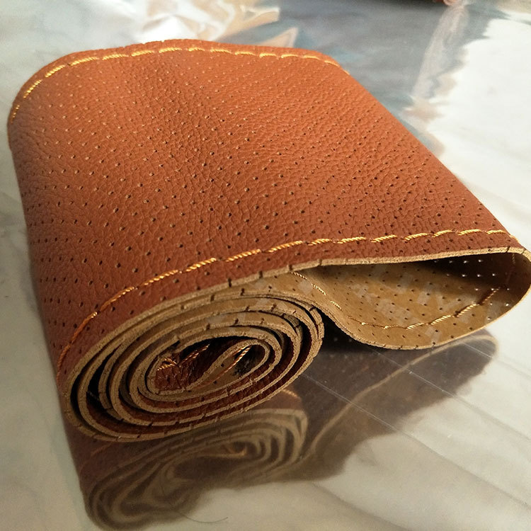 Diameter 36cm Artificial Leather Hand Sewing Coffee Color Car Steering Wheel Cover With Needle And Thread Automobile Accessories
