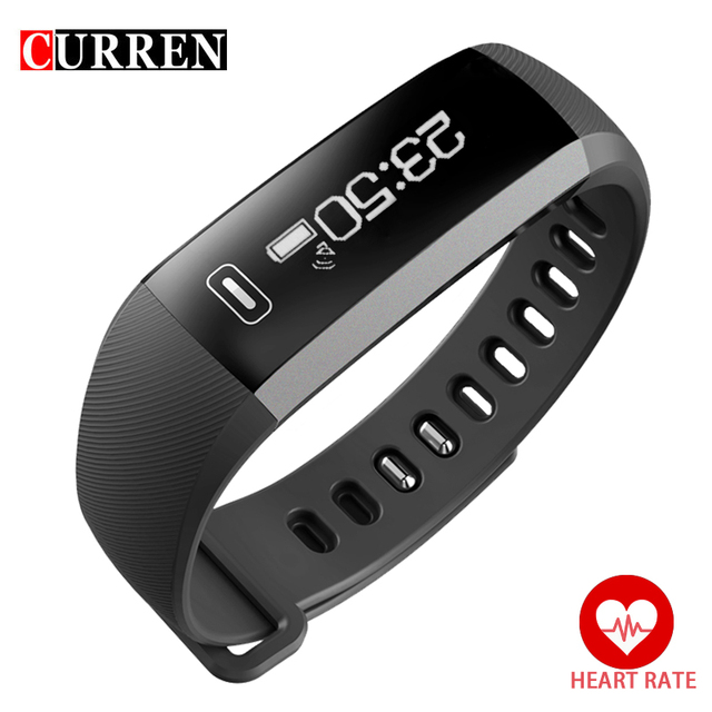 Curren Brand R5 PLUS Smart Heart Rate Monitor Alarm Clocks Bluetooth 4.0 Fitness Activity Tracker Sports Watch for iOS Android