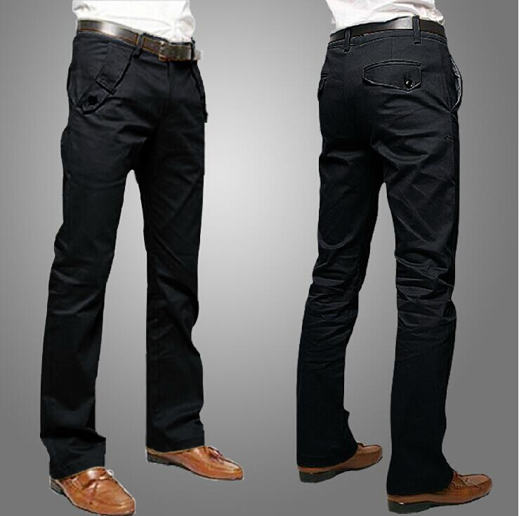 Spring and Autumn Mens Chino Pants Casual Fashion Black ...