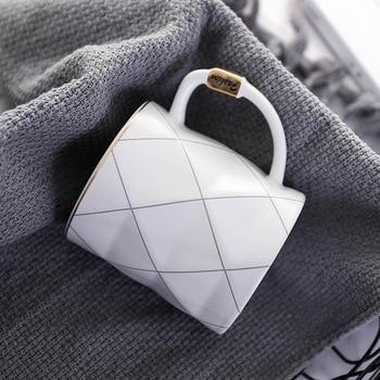 Nordic Golden Black and White Grid Geometry Ceramic Coffee Mug Porcelain Juice Drinking Cup Coffee Milk Tea Cup