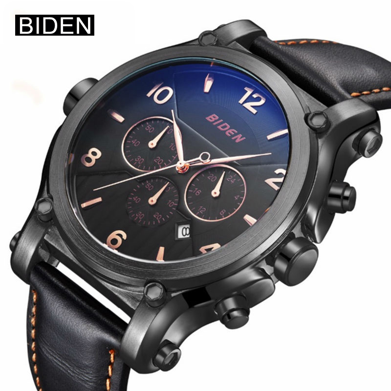 BIDEN Top Brand Classic Men Quartz Watches Casual Leather Strap Chronograph Waterproof Sports Watches Boys Fashion Watch Clock