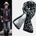 Gifts   Fashion Vintage Brand Mens 100% Silk  Long Scarf  Cravat  Scarives  Double  Layer  Black