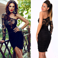 Olrain Sexy Women Black Crochet Lace Long Sleeve One Shoulder Evening Party Club Bodycon Dress