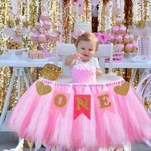 Первый день рождения ребенка синий розовый стул баннер один год 1st День Рождения украшения дети мальчик девочка я один гирлянда из ткани питания