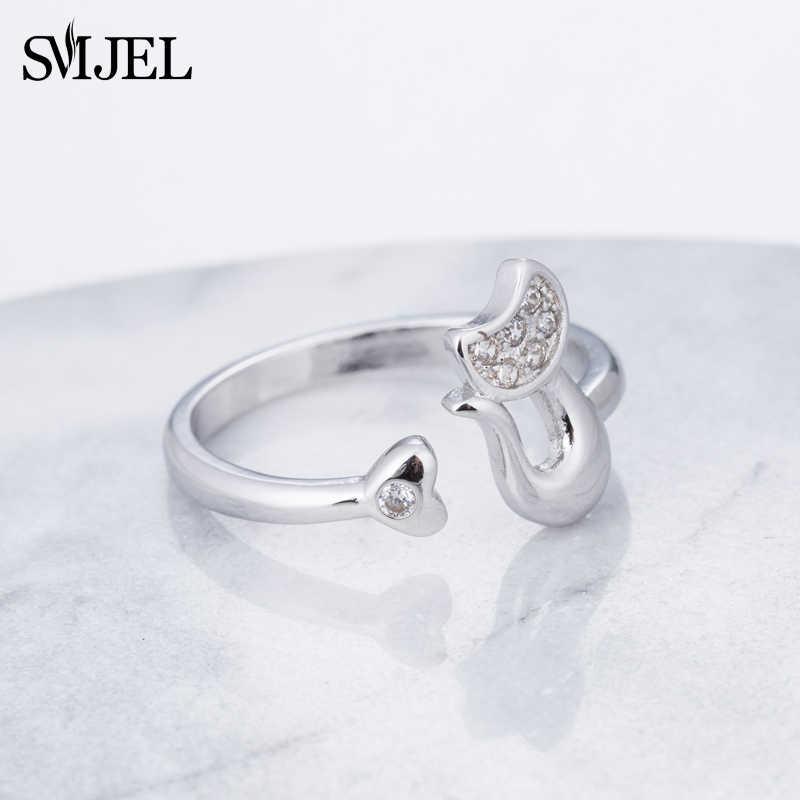 Smjel Fashion Warna Perak Zirkonia Kucing Lucu dengan Hati Ekor Cincin untuk Wanita Kucing Telinga Terbuka Cincin Anak Perempuan hadiah SYJZ151