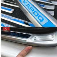 Car Styling Stainless Steel Accessories For SKODA KAROQ 2018 2019 Inner Door Scuff Sill Plates Kick Step Entry Trim Cover Plate
