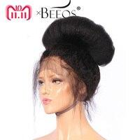BEEOS 12 24 250 Плотность перуанский парик натуральные волосы с ребенком волосы Реми странный прямые парик для для женщин отбеленные узлы
