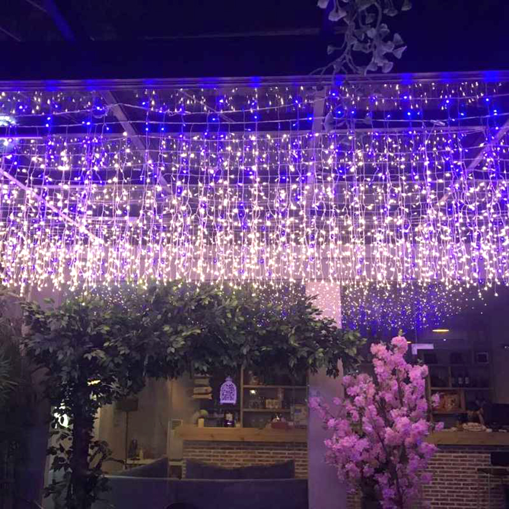 6m*1m Icicle LED Curtain Light Fairy Holiday Garland String Lights For Wedding Christmas Party Festival Outside Decoration JQ