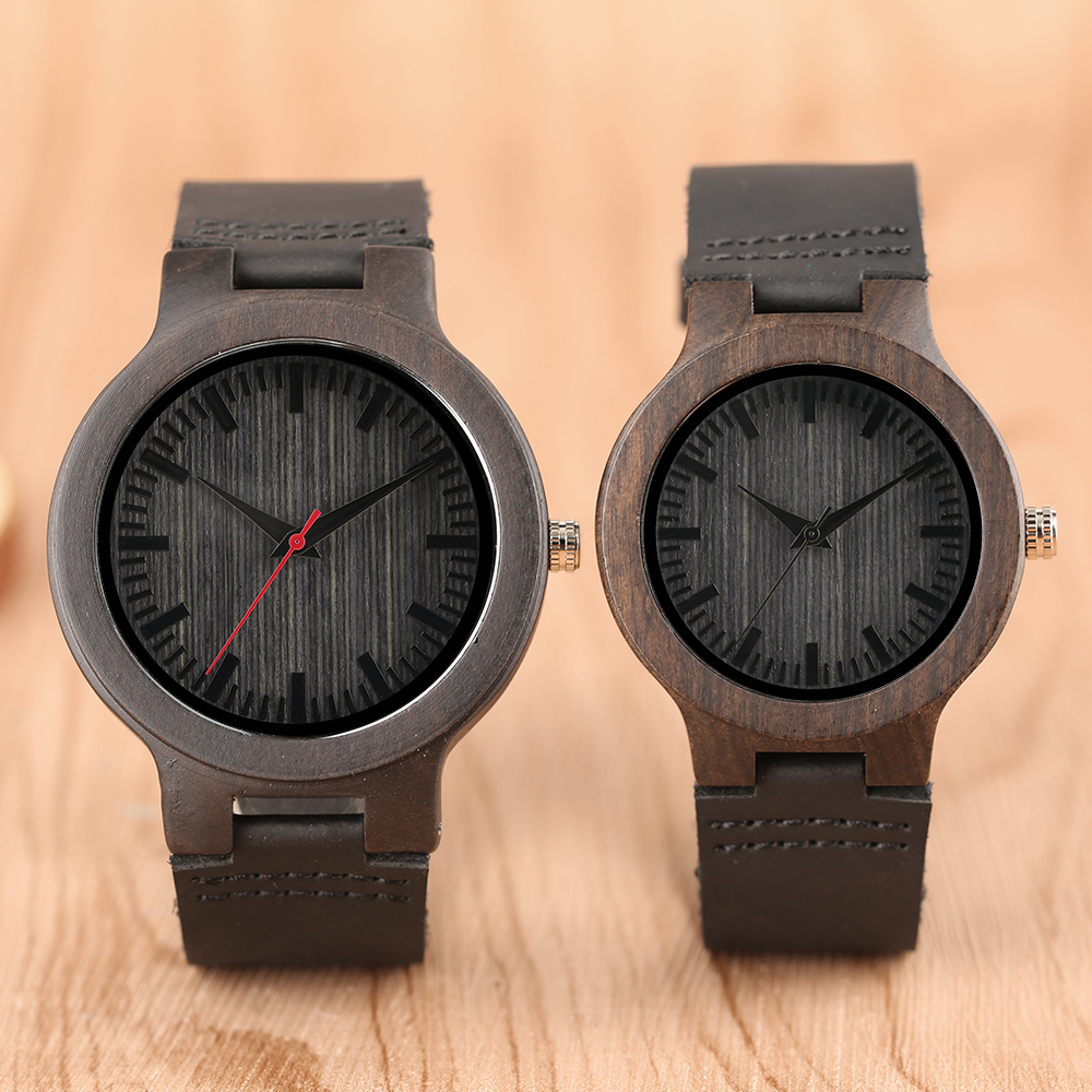 Nature Bamboo Wrist Watch Men Women Couple Wood Watches Stripe Dial Round Case Hot Selling Lovers' Quartz Wacthes Clock