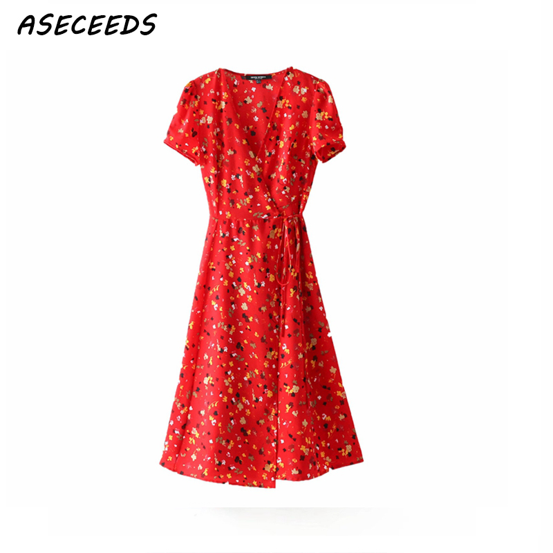 Bohemian vintage <font><b>red</b></font> summer <font><b>dress</b></font> women v neck casual <font><b>sexy</b></font> chiffon beach party <font><b>dress</b></font> floral print wrap <font><b>dress</b></font> korean fashion image