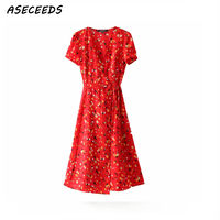 f588401a410812 Bohemian vintage red summer dress women v neck casual sexy chiffon beach  party dress floral print