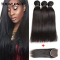 2016 Promotion Indian Straight Hair With Closure 3 Bundles 10A Queen Weave Hair Extensions With Lace Closure Thick Bundles Weft