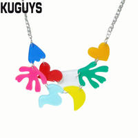 KUGUYS Fashion Jewelry Acrylic Colorful Large Pendant Necklaces For Women Trendy Summer Beach Holiday Necklaces DS