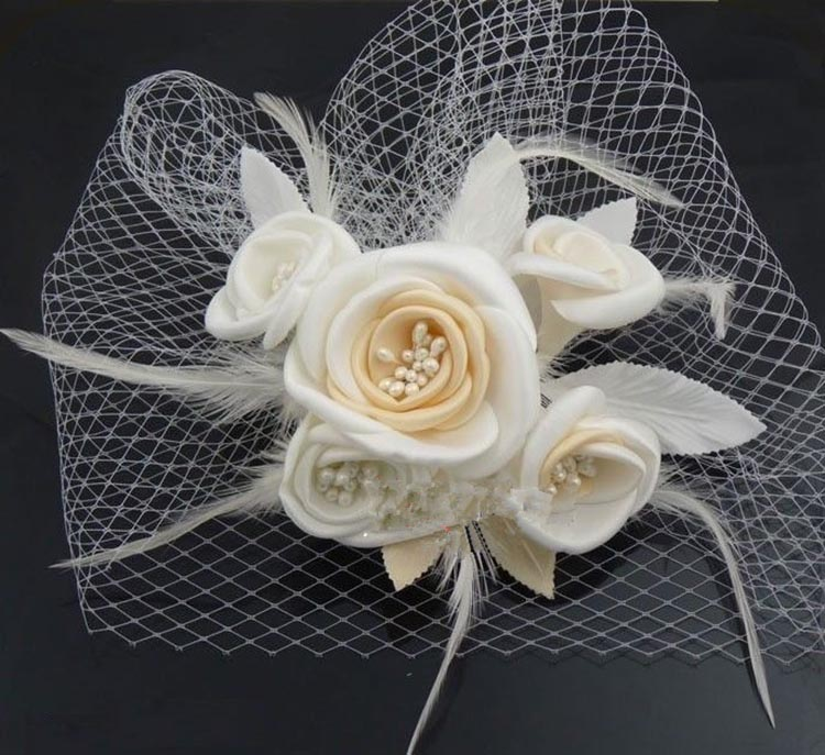 Elegant Wedding Hats for Ladies Bridal Hair Accessories Wedding Hats and Fascinators Handmade Flowers headdress With Comb